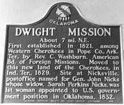 Historic Marker for Dwight Mission