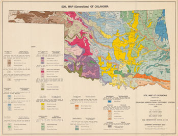 Ohs research center map collections maps containing geographic and topographical information are also included this map shows the soil variations throughout the state of oklahoma sciox Choice Image