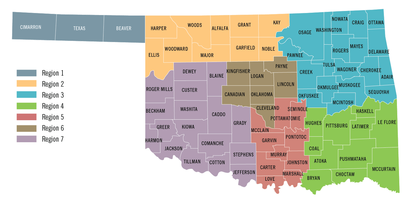 A map of Oklahoma highlighting regions by county.
