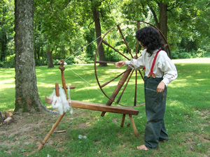 Demonstration of spinning wool on a walking wheel.