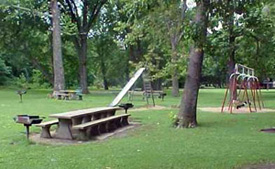 Hunter's Home park with picnic tables and swingset.