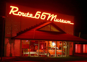 Photograph of the Route 66 Museum at night